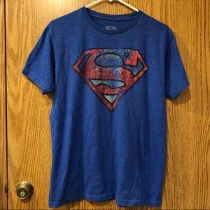 Superman Distress Tee Shirt Top Size M EUC